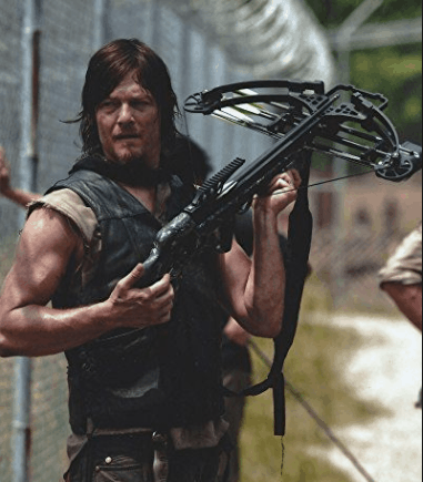 fiction archer Darl Dixon with his crossbow