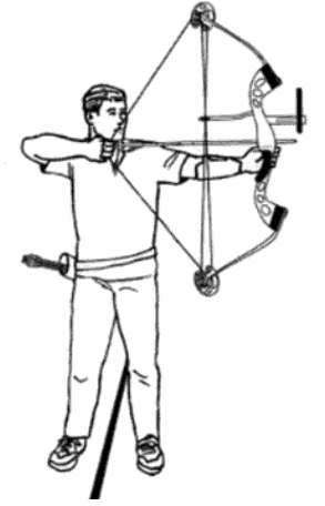 archer hold the bow on anchor point