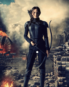 famous fiction archer Katniss Everdeen with her bow