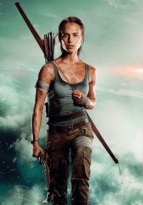 famous fiction archer lara croft with her bow