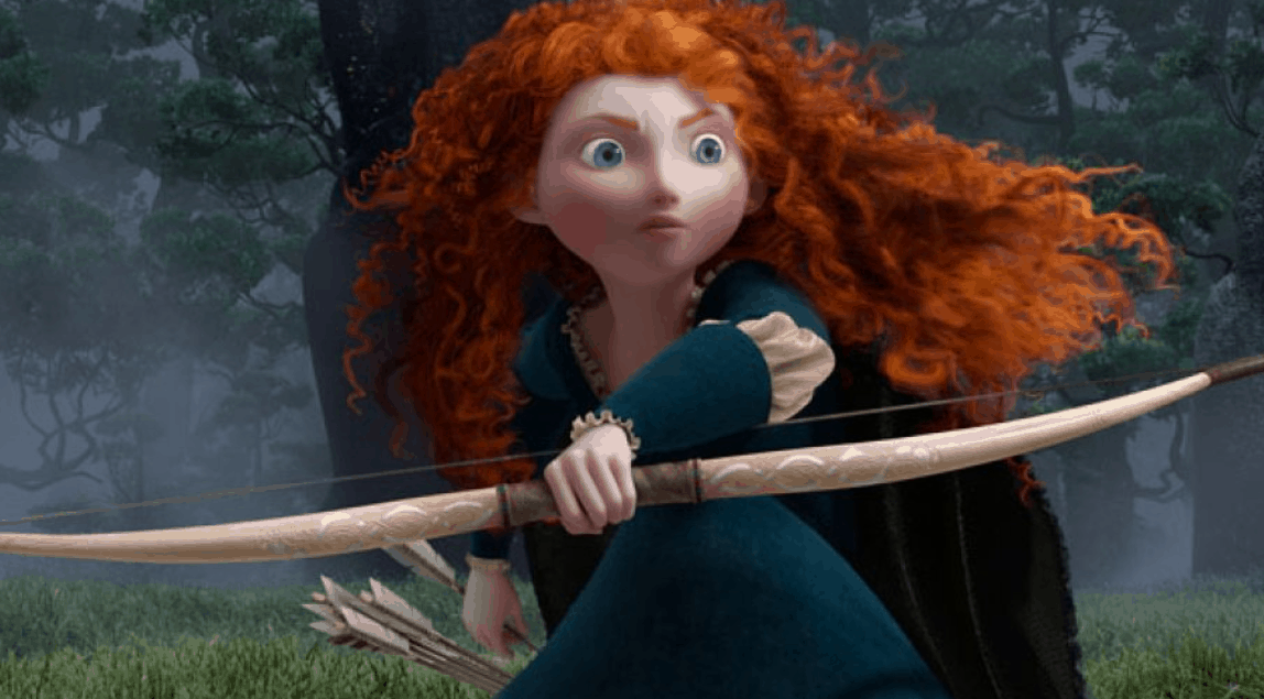 famous fiction archer Princess Merida with her bow
