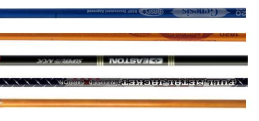 different type of arrow shafts