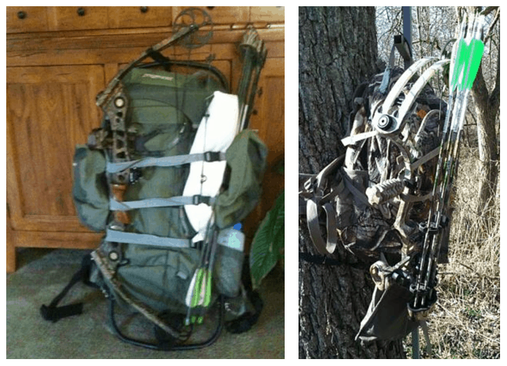 fix the bow with straps on a backpack